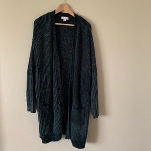 Ava & Viv Chenille Long Cardigan Jewel Tone Green